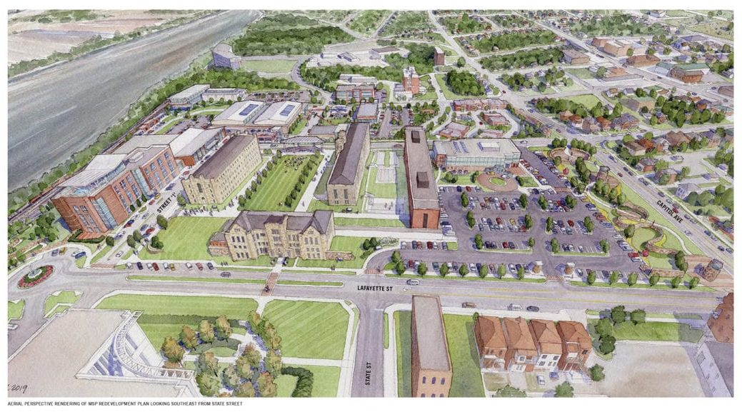 Aerial rending of prospective MSP Redevelopment Plan looking southeast from State Street
